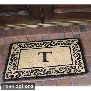 Hand-crafted Decorative Border Filigree Monogrammed Doormat (2' x 3')