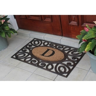 Hand-crafted Rubber and Coir Large Elegant Circles Monogrammed Doormat (2'11 x 3'2)