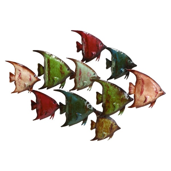 26-inch Coastal Open Schooling Angel Fish Wall Sculpture