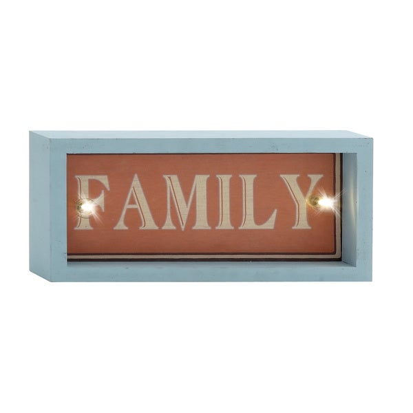 12-inch Family Turquoise/ Red Led Wall Sign