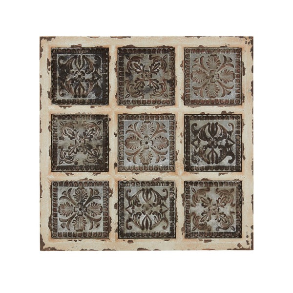 31-inch Square Old World Inspired Distressed Whitewash Wood Wall Plaque