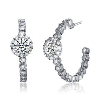 Collette Z Sterling Silver Cubic Zirconia Fancy Hoop Earrings