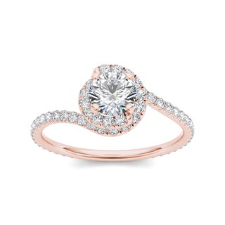 De Couer 14k Rose Gold 1ct TDW Diamond Bypass Halo Engagement Ring (H-I, I2)