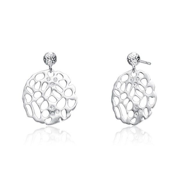 Collette Z Sterling Silver Roudn Lace Design Drop Earrings