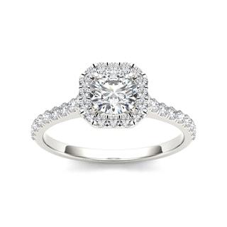 De Couer 14k White Gold 7/8ct TDW Diamond Halo Engagement Ring (H-I, I2)