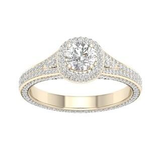 De Couer 14k Yellow Gold 1 1/4ct TDW Diamond Split-Shank Halo Engagement Ring (H-I, I2)