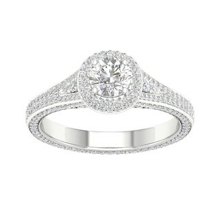 De Couer 14k White Gold 1 1/4ct TDW Diamond Split-Shank Halo Engagement Ring (H-I, I2)