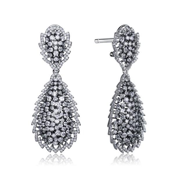 Collette Z Black Sterling Silver Cubic Zirconia Pear Drop Earrings