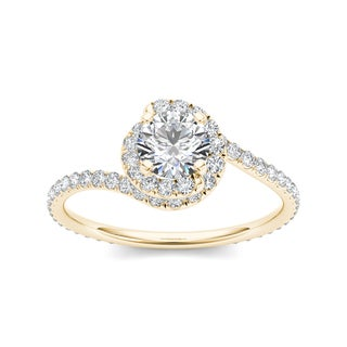 De Couer 14k Yellow Gold 1ct TDW Diamond Bypass Halo Engagement Ring (H-I, I2)