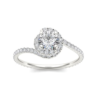 De Couer 14k White Gold 1ct TDW Diamond Bypass Halo Engagement Ring (H-I, I2)