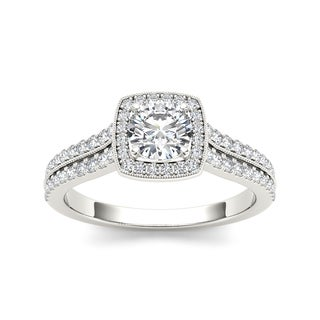 De Couer 14k White Gold 7/8ct TDW Diamond Halo Engagement Ring (H-I, I2)
