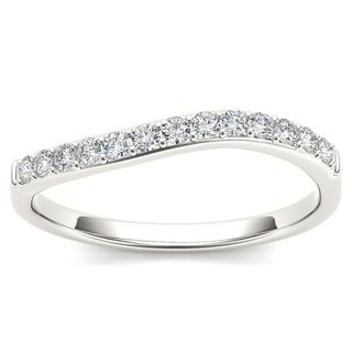 De Couer 14k White Gold 1/10ct TDW Diamond Comely Women's Wedding Band (H-I, I2)