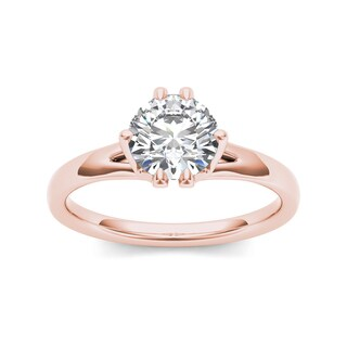 De Couer 14k Rose Gold 1 1/2ct TDW Diamond Solitaire Engagement Ring (H-I, I2)