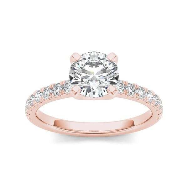 De Couer 14k Rose Gold 1 1/4 ct TDW Diamond Classic Engagement Ring (H-I, I2)