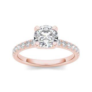 De Couer 14k Rose Gold 1 1/4 ct TDW Diamond Classic Engagement Ring (H-I, I2)