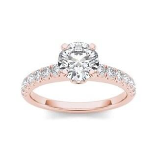 De Couer 14k Rose Gold 1 1/2ct TDW Diamond Classic Engagement Ring (H-I, I2)