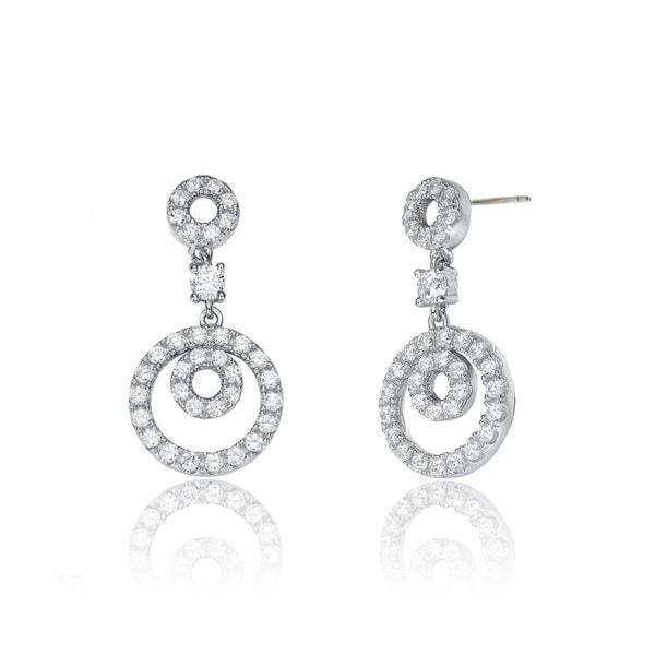 Collette Z Sterling Silver Cubic Zirconia Round Drop Earrings 15673494