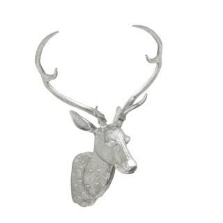 13-inch Polished Aluminum Deer Head Wall Sculpture