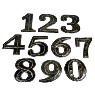 Hand Cut and Embossed Haitian Metal House Numbers (Haiti)