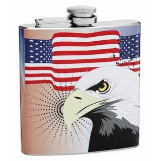Top Shelf Flasks 6-ounce American Flag Flask with Bald Eagle