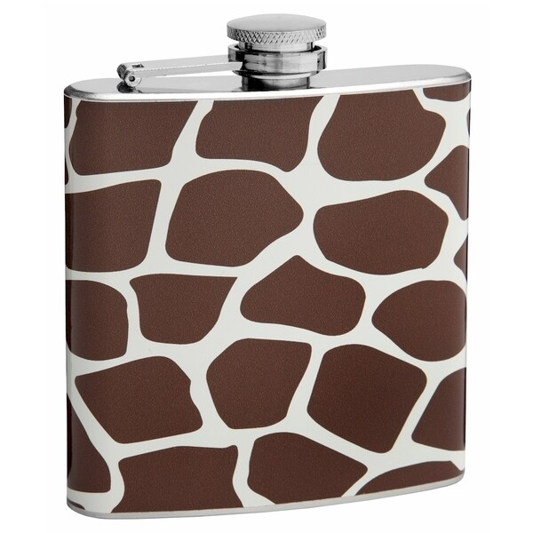 Top Self Flasks 6-ounce Brown Giraffe Pattern Hip Flask