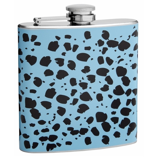 Top Self Flasks 6-ounce Blue and Black Cheetah Print Hip Flasks