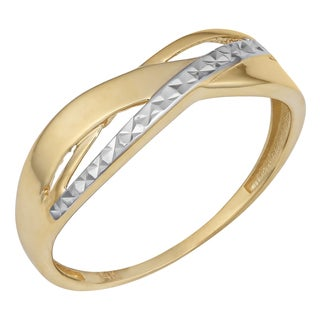 Fremada 14k Two-tone Gold Diamond-cut and High Polish Triple Highway Ring