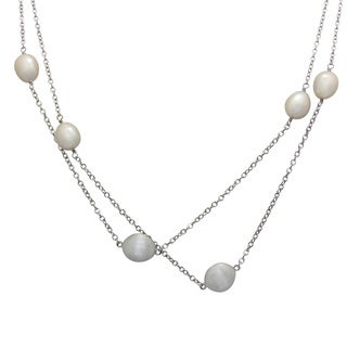 Gioelli Sterling Silver Freshwater Pearl Beaded Station Necklace (9-10mm)