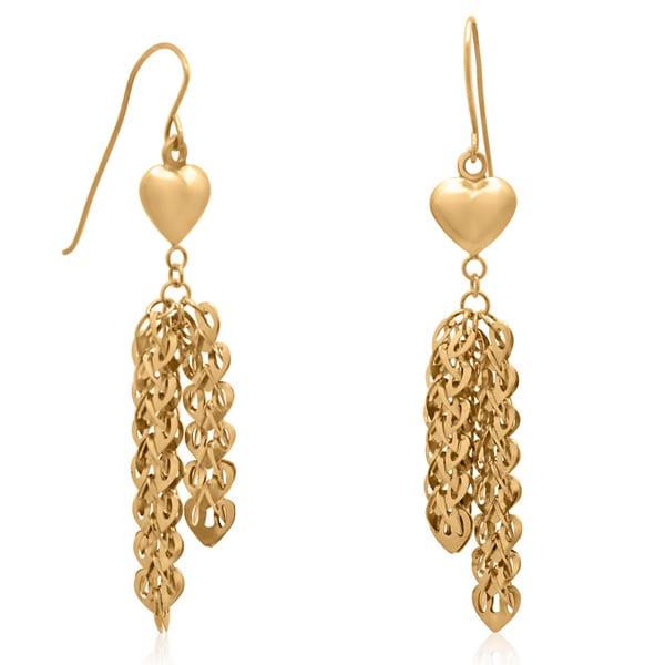 Gioelli 14k Yellow Gold Fish Hook Dangle Earrings