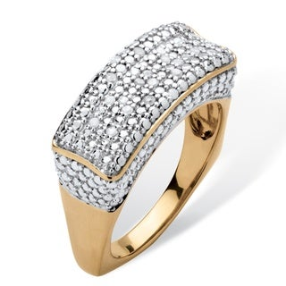 PalmBeach 1/5 TCW Diamond Bar Ring with Square Back in 18k Gold Over .925 Sterling Silver