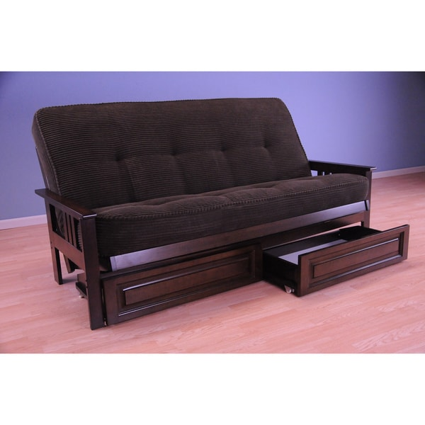 Somette Monterey Espresso Futon Set with Storage Drawers