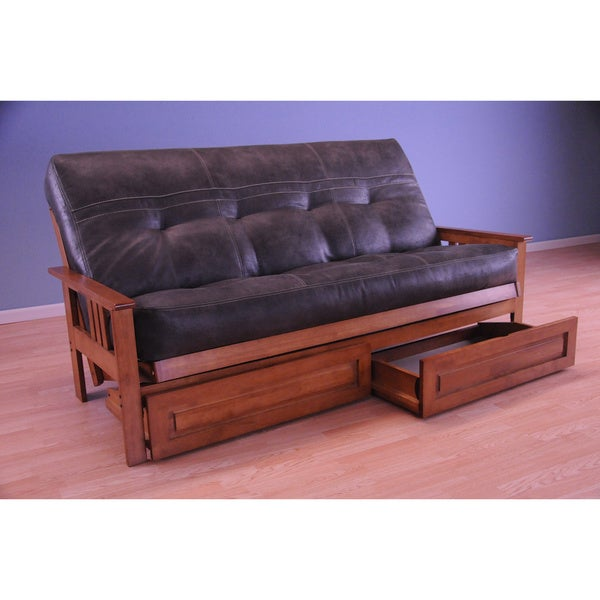 Somette Monterey Honey Oak Futon Set with Storage Drawers