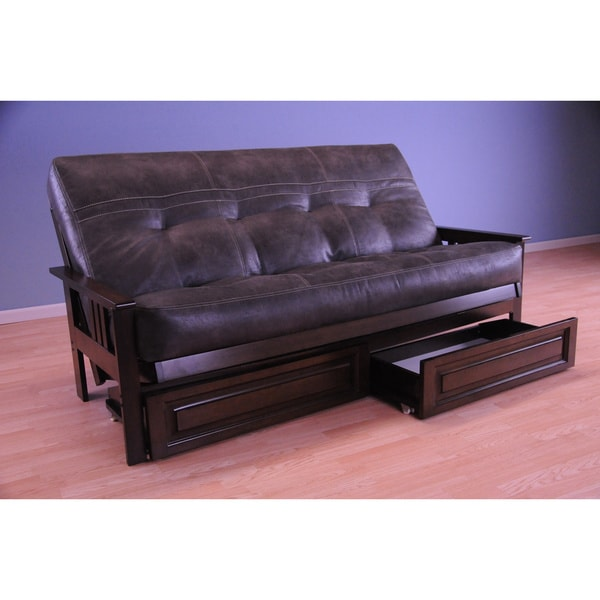 Somette Monterey Espresso Futon Set Frame with Storage Drawers