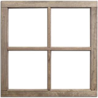 Salvaged 4 Pane Wood Window Frame 28inX28inX1.25in Weathered Wood