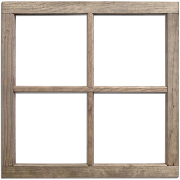 Salvaged 4 Pane Wood Window Frame 28inX28inX1.25in Weathered Wood