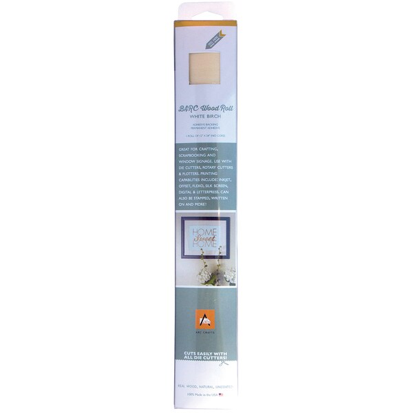 BARC Wood Roll W/Adhesive Backing 12inX24in White Birch