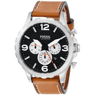 Fossil Men's JR1486 'Nate' Chronograph Brown Leather Watch