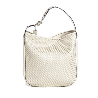 Coach Parchment Park Leather Avery Woven White/Silver Hobo