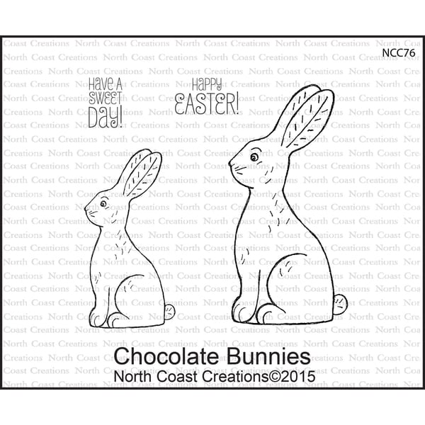 North Coast Creations Cling Rubber Stamp 5inX6.75in Chocolate Bunnies