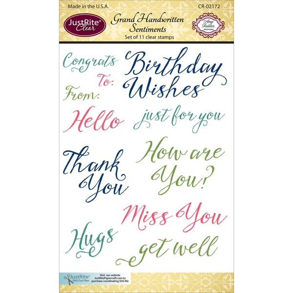 JustRite Papercraft Clear Stamp Set 4inX6in Handwritten Sentiments
