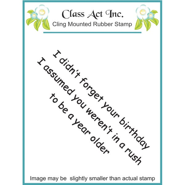 Class Act Cling Mounted Rubber Stamp 2.75inX3.75in I Didn't Forget