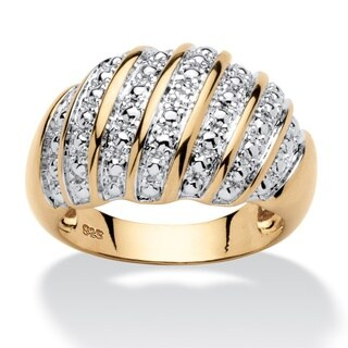 14k Yellow Gold/Silver Diamond Accent Fashion Dome Ring