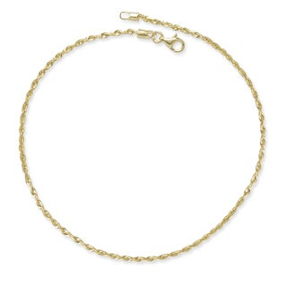 10k Yellow Gold 10-Inch 2mm Diamond-cut Rope Chain Anklet