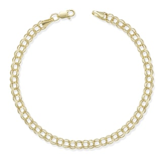 10k Yellow Gold Double Link 7-Inch Charm Bracelet
