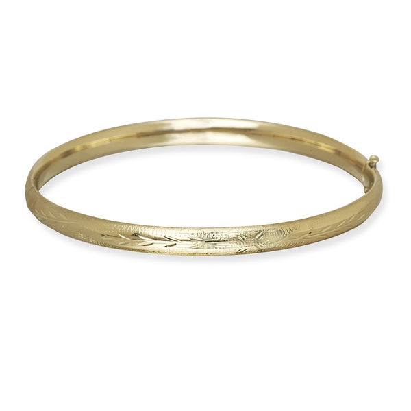 10k Yellow Gold 5mm 7-Inch Floral Bangle Bracelet