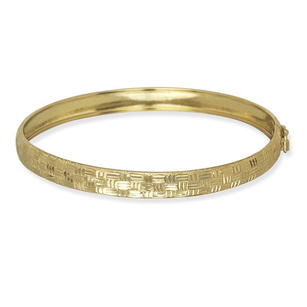 10k Yellow Gold 6mm 7-InchDiamond-cut Geometric Bangle Bracelet