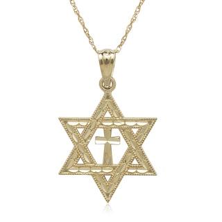 14k Yellow Gold Diamond-cut Star of David Cross 16-inch Necklace