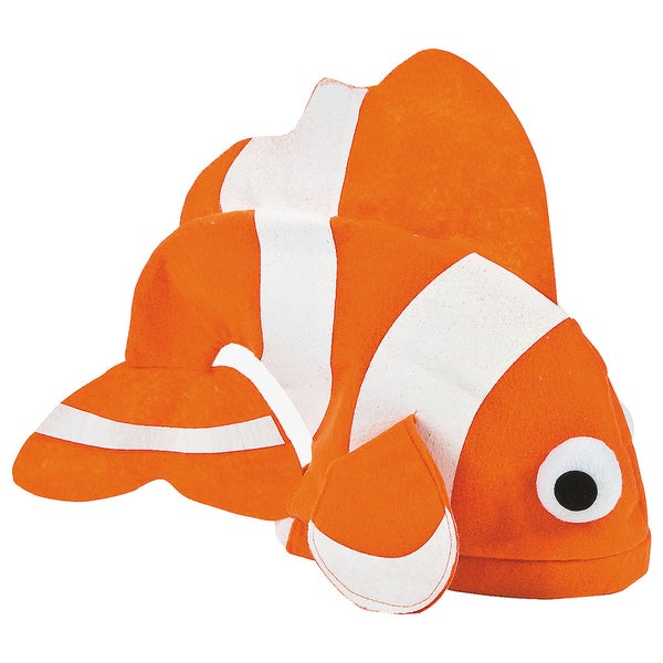 Orange/ White Clownfish Felt Tropical Hat Costume Accessory