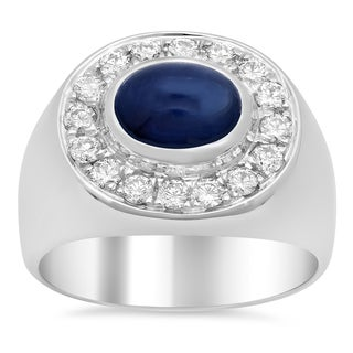 14k White Gold 3/4ct TDW Diamond and 3ct TGW Sapphire Ring (F-G, VS1-VS2)