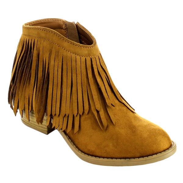 Soda Jervis Women's Lovely Fringe Inside Zip Stacked Heel Ankle Booties